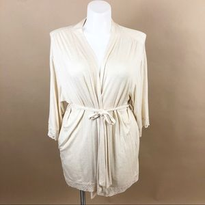 Bump in the Night Soft Cream Lace Trim Belted Robe